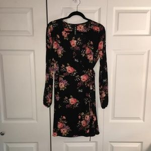 Design Lab Floral Long Sleeve Wrap Dress